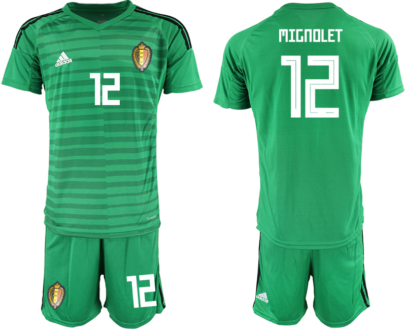 Men 2018 World Cup Belgium green goalkeeper 12 soccer jersey