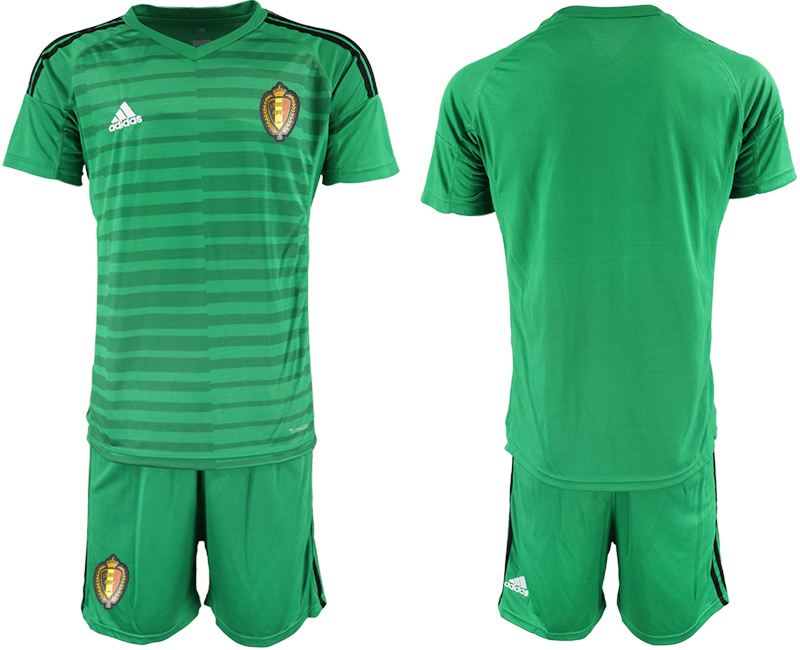 Men 2018 World Cup Belgium green goalkeeper soccer jersey