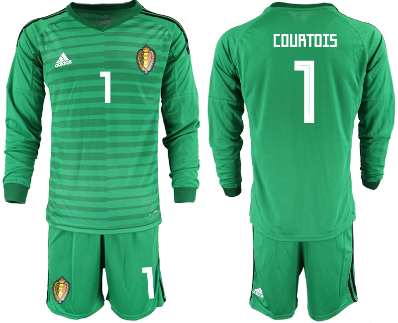 Men 2018 World Cup Belgium green long sleeve goalkeeper 1 Soccer Jerseys