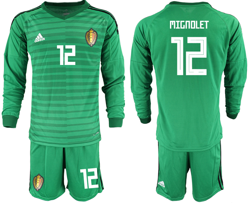 Men 2018 World Cup Belgium green long sleeve goalkeeper 12 Soccer Jerseys