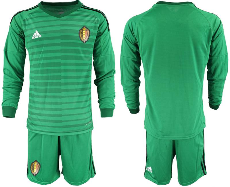 Men 2018 World Cup Belgium green long sleeve goalkeeper Soccer Jerseys