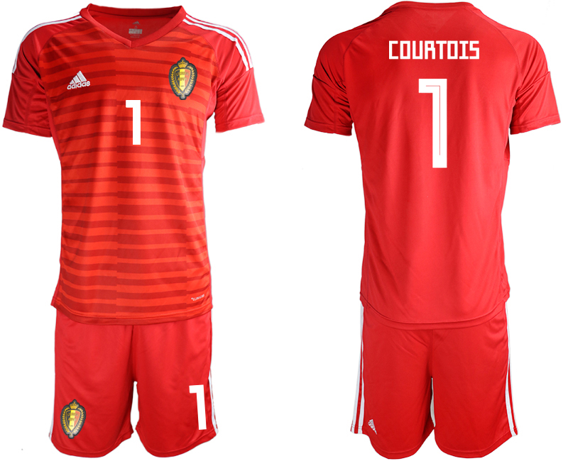 Men 2018 World Cup Belgium red goalkeeper 1 soccer jersey