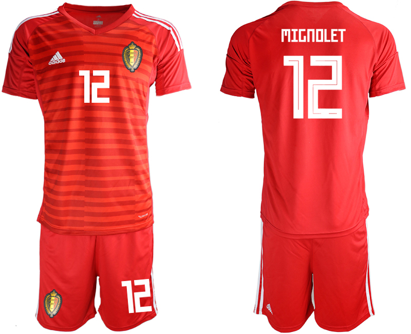 Men 2018 World Cup Belgium red goalkeeper 12 soccer jersey