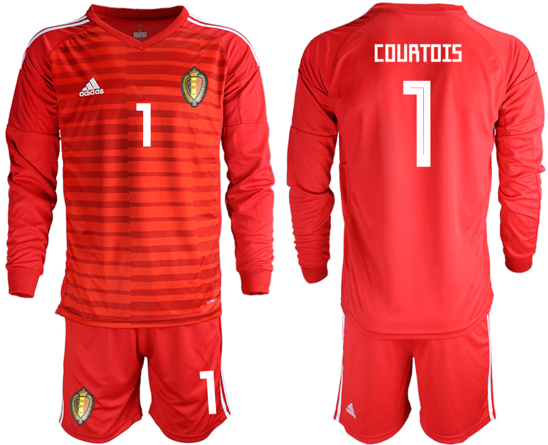 Men 2018 World Cup Belgium red goalkeeper long sleeve 1 Soccer Jerseys