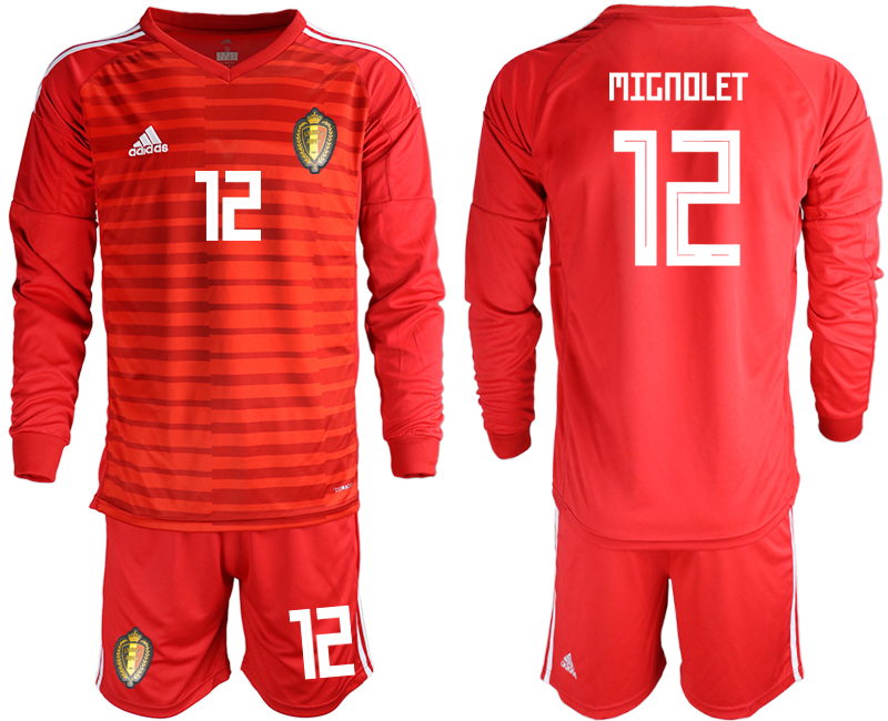 Men 2018 World Cup Belgium red goalkeeper long sleeve 12 Soccer Jerseys
