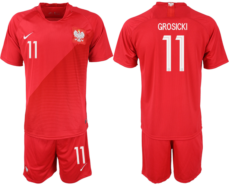 Men 2018 World Cup Poland away 11 red soccer jersey