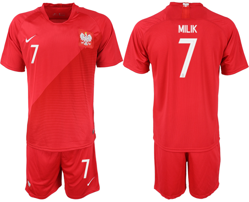 Men 2018 World Cup Poland away 7 red soccer jersey