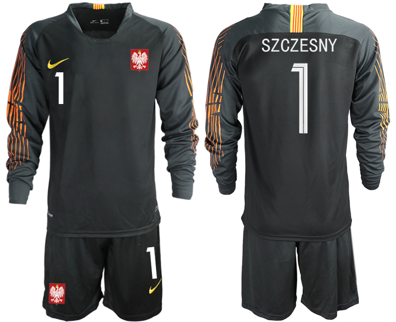 Men 2018 World Cup Poland black long sleeve goalkeeper 1 Soccer Jerseys