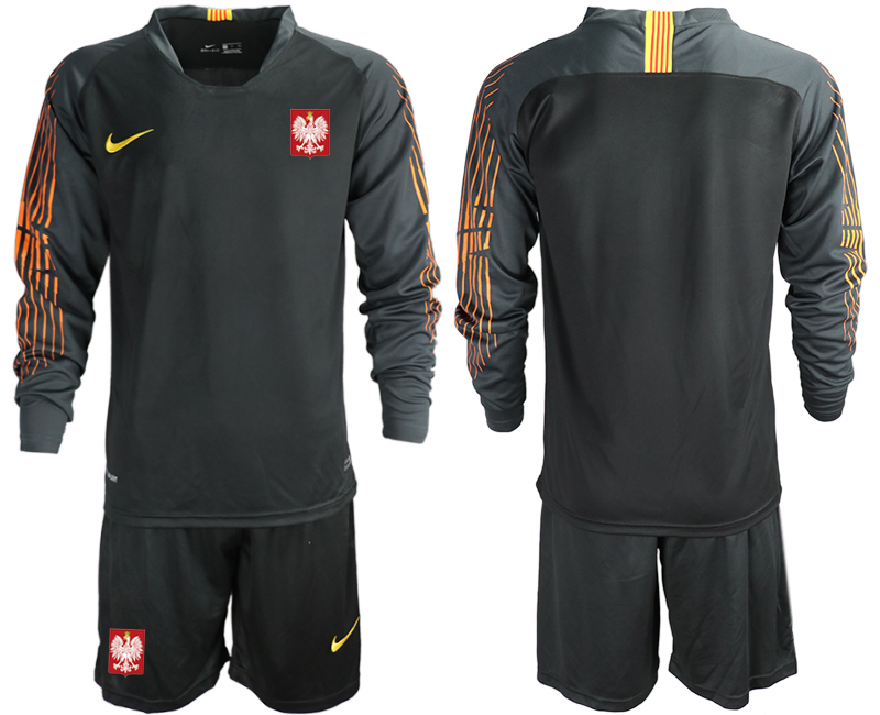 Men 2018 World Cup Poland black long sleeve goalkeeper Soccer Jerseys