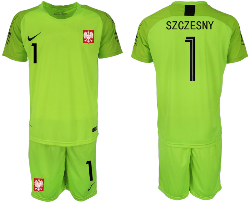 Men 2018 World Cup Poland fluorescent green goalkeeper 1 soccer jersey
