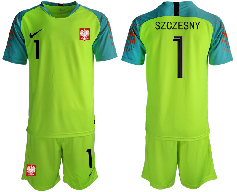 Men 2018 World Cup Poland fluorescent green goalkeeper 1 soccer jersey1