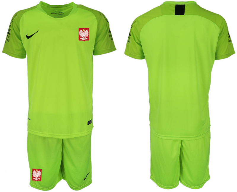 Men 2018 World Cup Poland fluorescent green goalkeeper soccer jersey