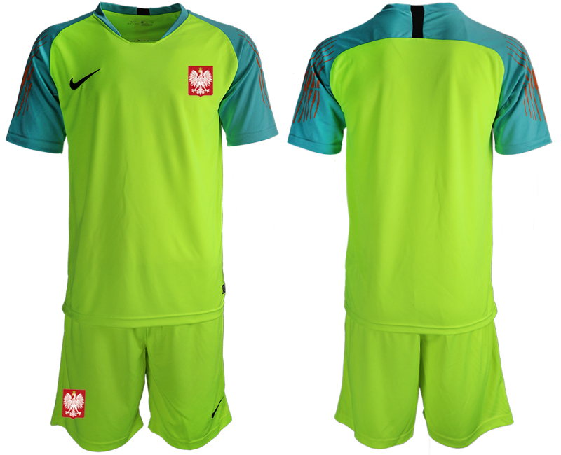 Men 2018 World Cup Poland fluorescent green goalkeeper soccer jersey1