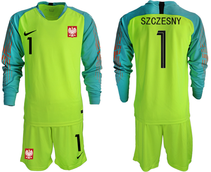 Men 2018 World Cup Poland fluorescent green long sleeve goalkeeper 1 Soccer Jerseys