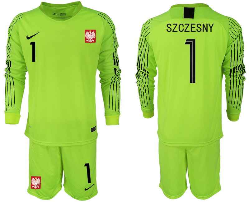 Men 2018 World Cup Poland fluorescent green long sleeve goalkeeper 1 Soccer Jerseys1