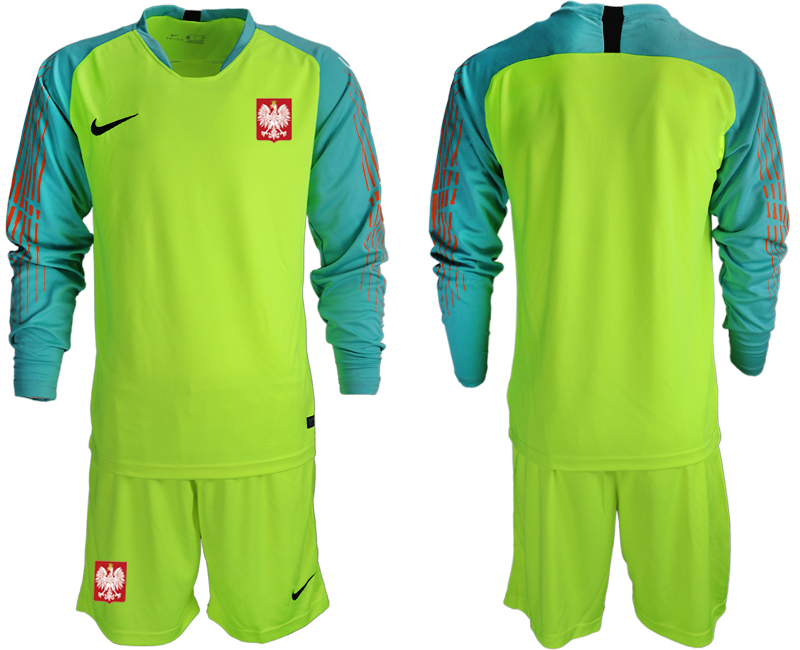 Men 2018 World Cup Poland fluorescent green long sleeve goalkeeper Soccer Jerseys