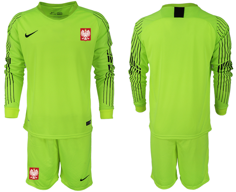 Men 2018 World Cup Poland fluorescent green long sleeve goalkeeper Soccer Jerseys1