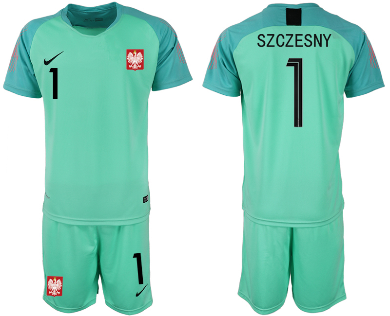 Men 2018 World Cup Poland green goalkeeper 1 soccer jersey