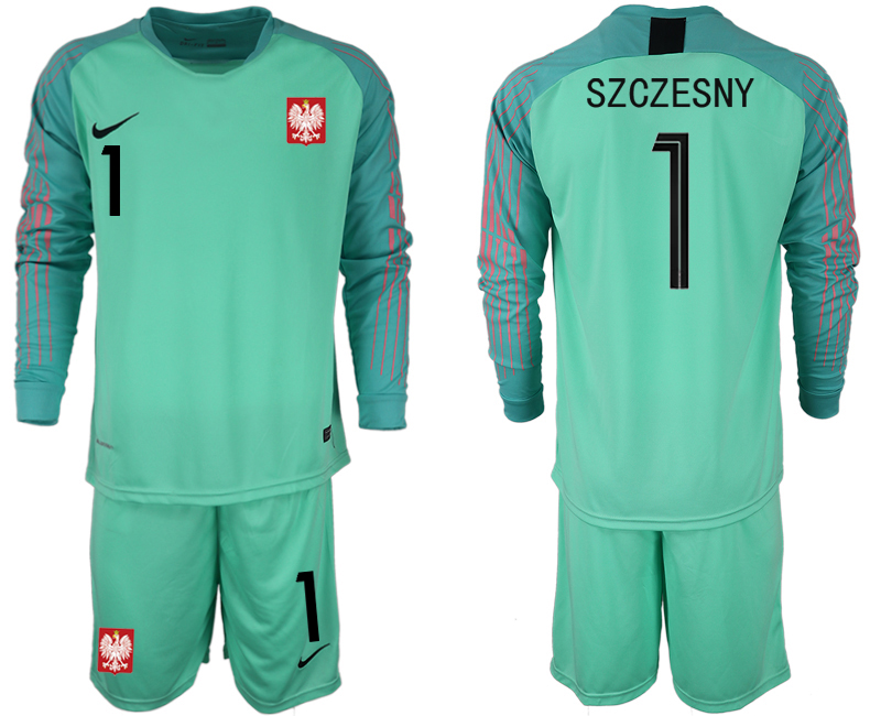 Men 2018 World Cup Poland green goalkeeper long sleeve 1 Soccer Jerseys