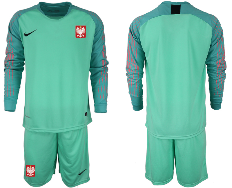 Men 2018 World Cup Poland green goalkeeper long sleeve Soccer Jerseys