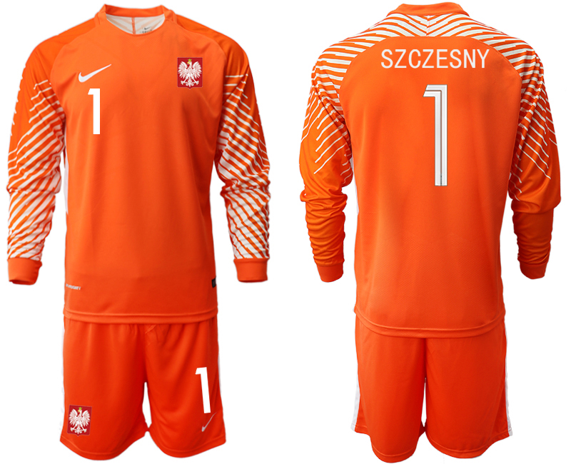 Men 2018 World Cup Poland orange goalkeeper long sleeve 1 Soccer Jerseys