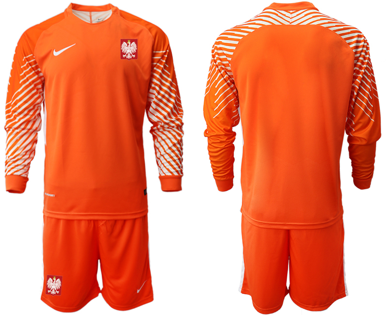 Men 2018 World Cup Poland orange goalkeeper long sleeve Soccer Jerseys