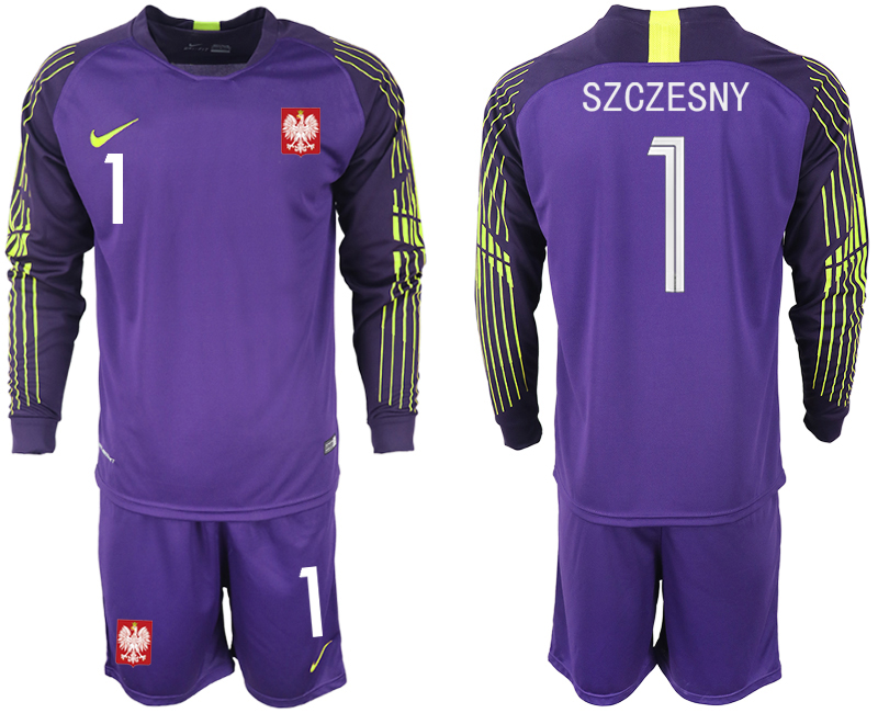Men 2018 World Cup Poland purple goalkeeper long sleeve 1 Soccer Jerseys