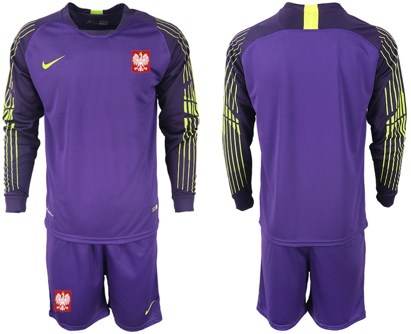 Men 2018 World Cup Poland purple goalkeeper long sleeve Soccer Jerseys