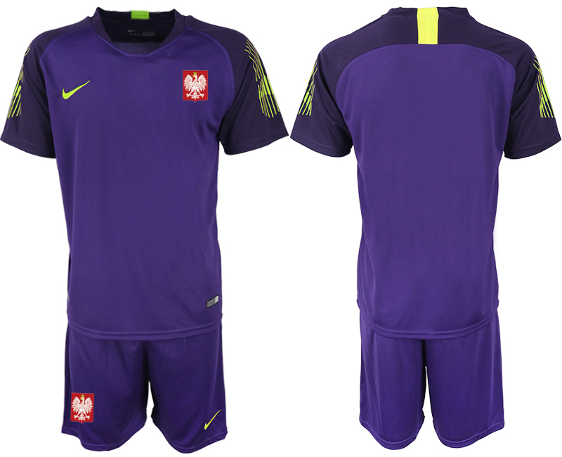 Men 2018 World Cup Poland purple goalkeeper soccer jersey