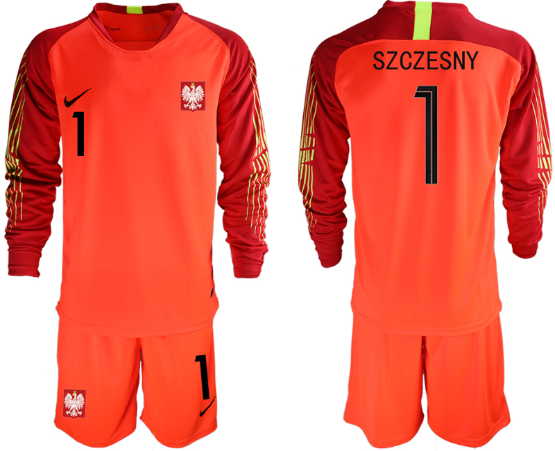 Men 2018 World Cup Poland red goalkeeper long sleeve 1 Soccer Jerseys