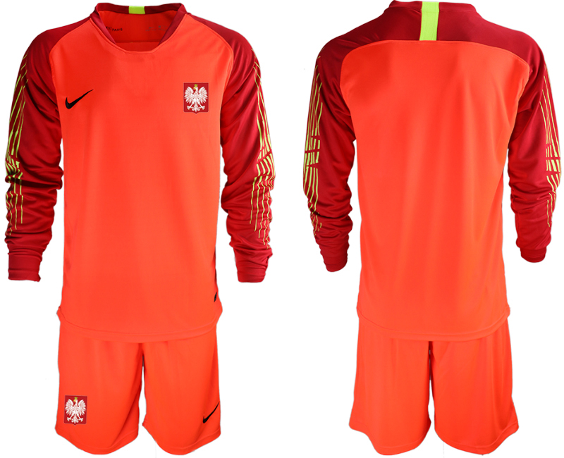 Men 2018 World Cup Poland red goalkeeper long sleeve Soccer Jerseys