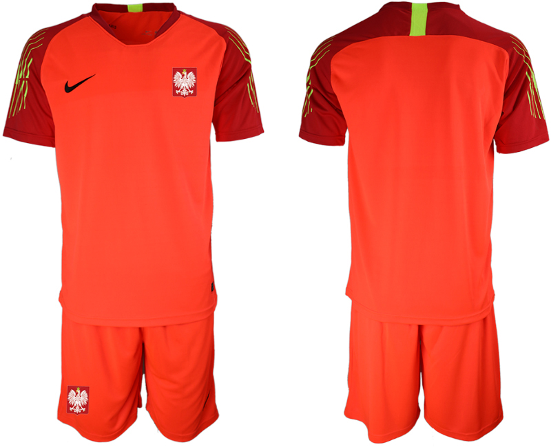 Men 2018 World Cup Poland red goalkeeper soccer jersey