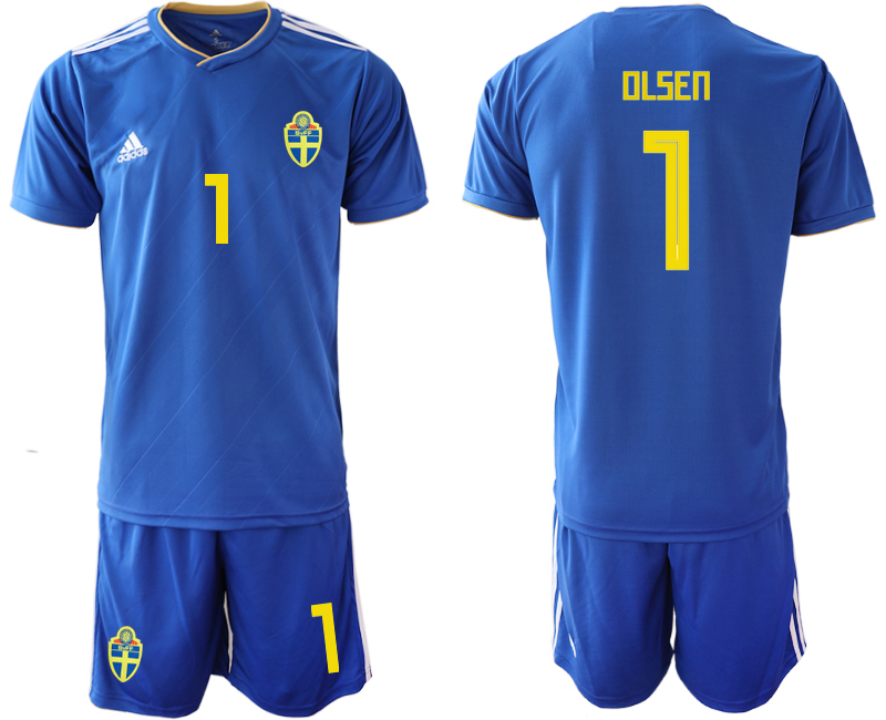 Men 2018 World Cup Sweden away 1 blue Soccer Jerseys