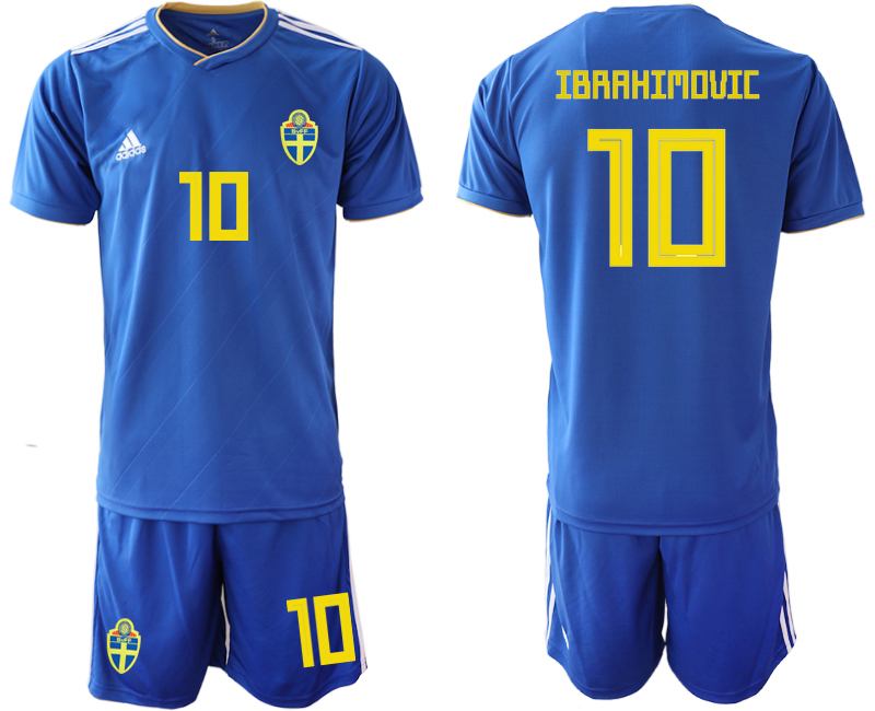 Men 2018 World Cup Sweden away 10 blue Soccer Jerseys