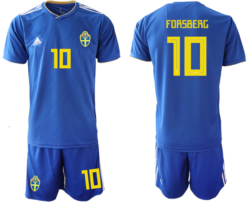 Men 2018 World Cup Sweden away 10 blue Soccer Jerseys1