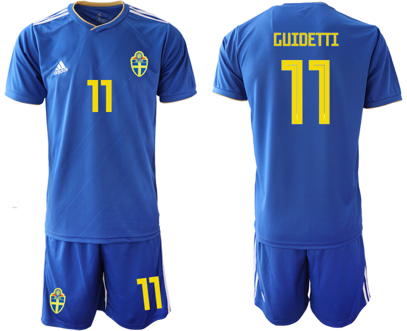 Men 2018 World Cup Sweden away 11 blue Soccer Jerseys