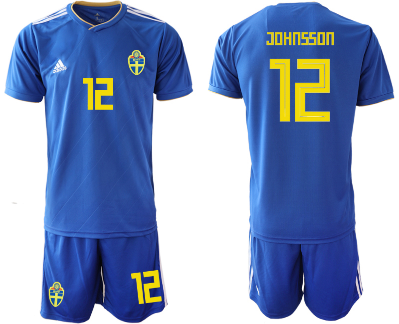 Men 2018 World Cup Sweden away 12 blue Soccer Jerseys
