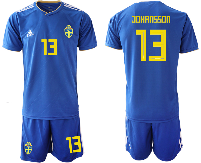 Men 2018 World Cup Sweden away 13 blue Soccer Jerseys