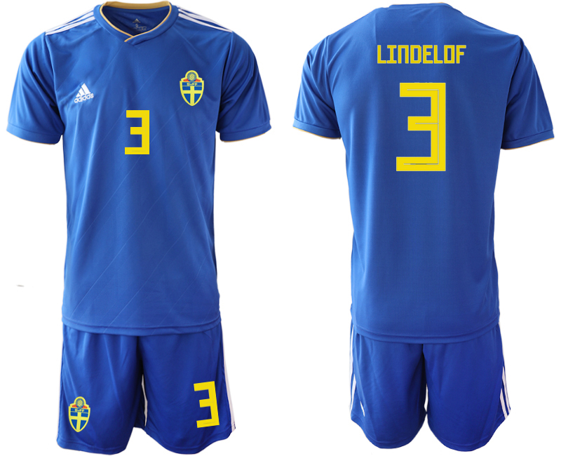 Men 2018 World Cup Sweden away 3 blue Soccer Jerseys