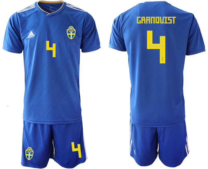 Men 2018 World Cup Sweden away 4 blue Soccer Jerseys
