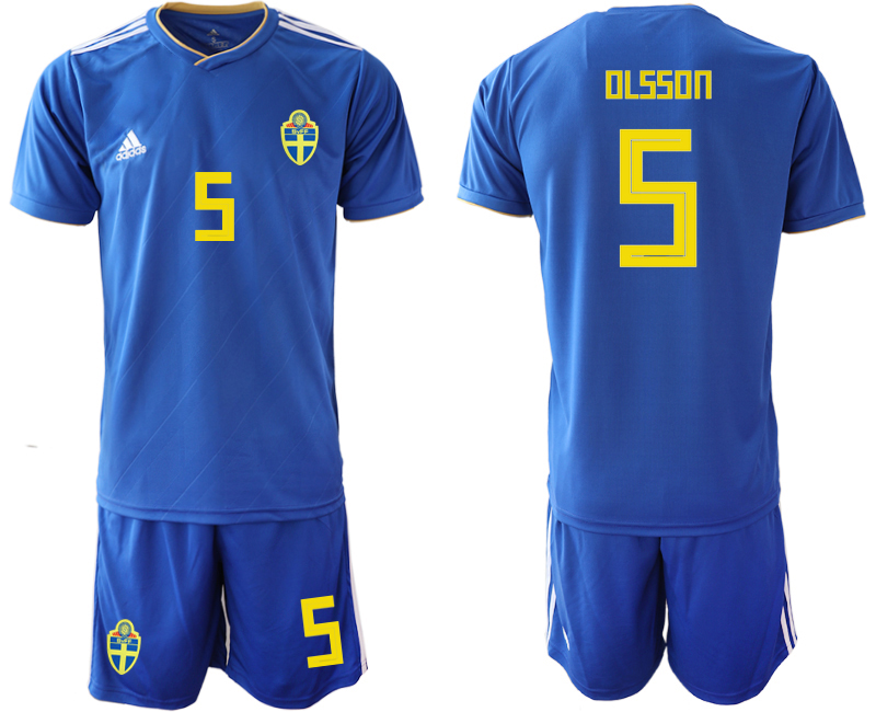 Men 2018 World Cup Sweden away 5 blue Soccer Jerseys