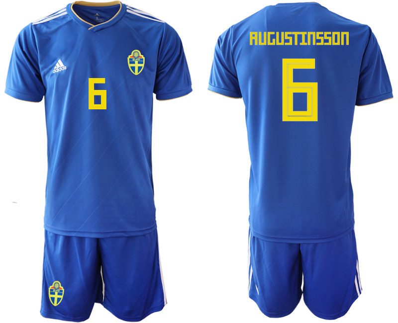 Men 2018 World Cup Sweden away 6 blue Soccer Jerseys