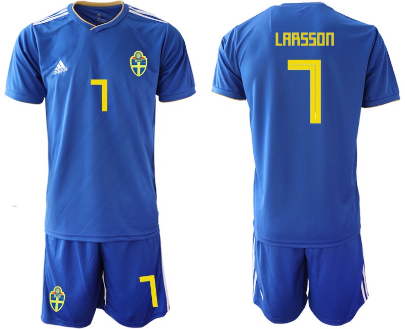 Men 2018 World Cup Sweden away 7 blue Soccer Jerseys