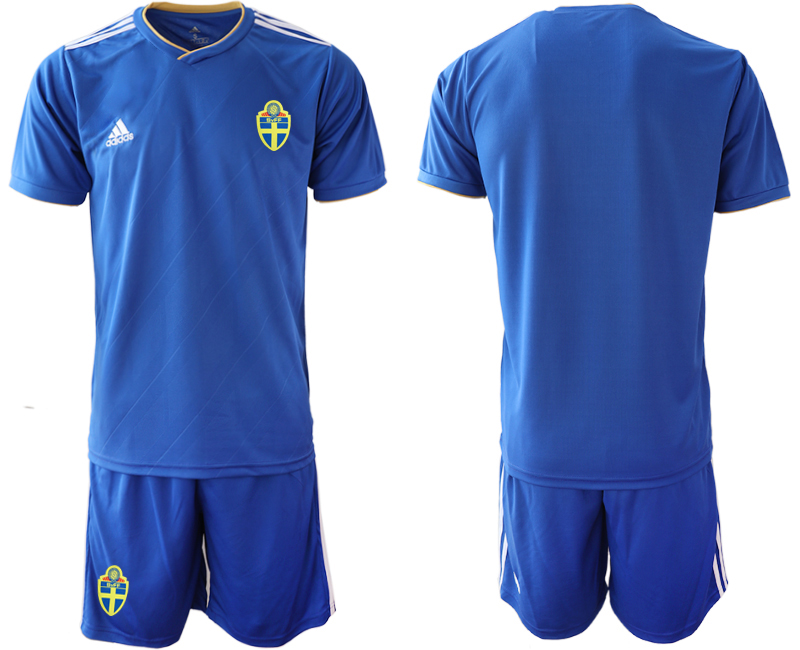 Men 2018 World Cup Sweden away blue Soccer Jerseys