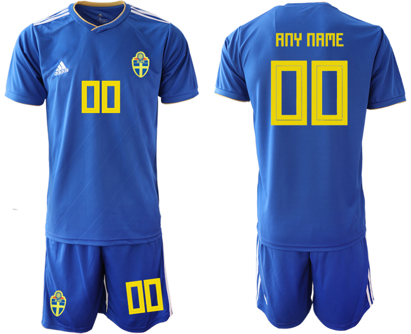 Men 2018 World Cup Sweden away customized blue Soccer Jerseys
