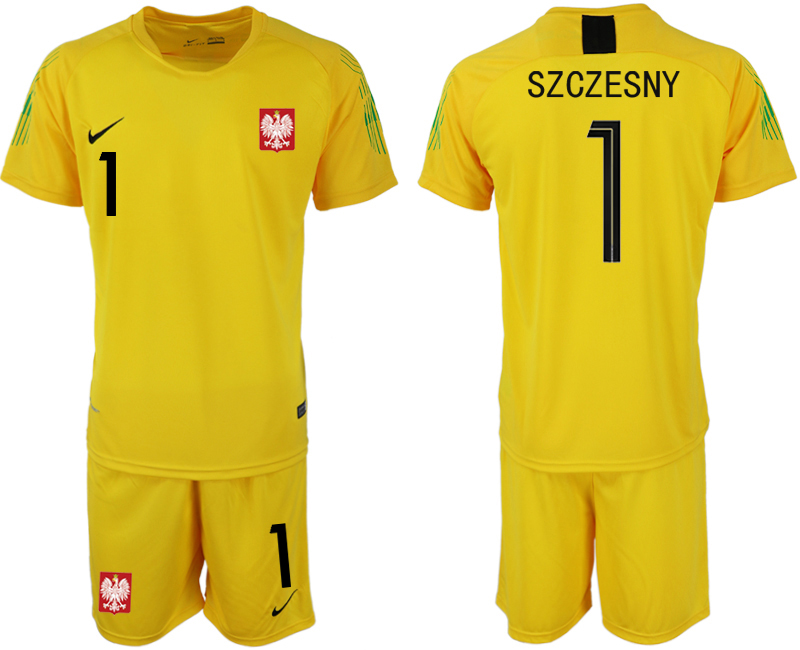 Men 2018 World Cup poland yellow goalkeeper 1 soccer jersey