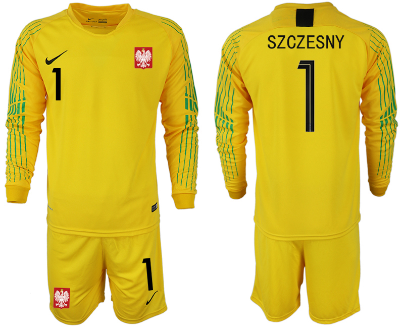 Men 2018 World Cup poland yellow goalkeeper long sleeve 1 Soccer Jerseys