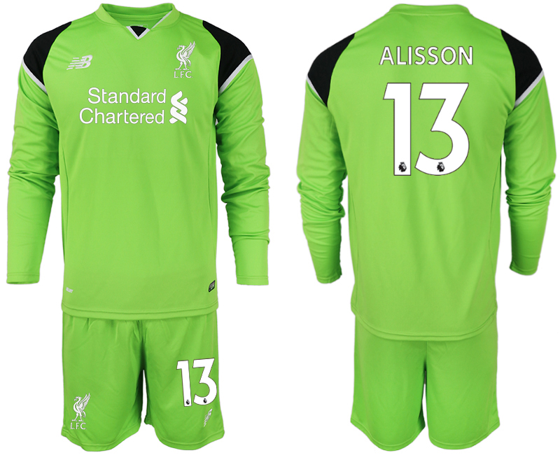 Men 2018-2019 club Liverpool green goalkeeper long sleeve 13 soccer jersey
