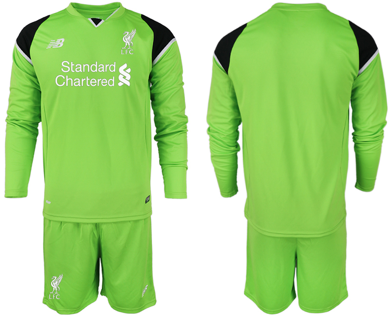 Men 2018-2019 club Liverpool green goalkeeper long sleeve soccer jersey
