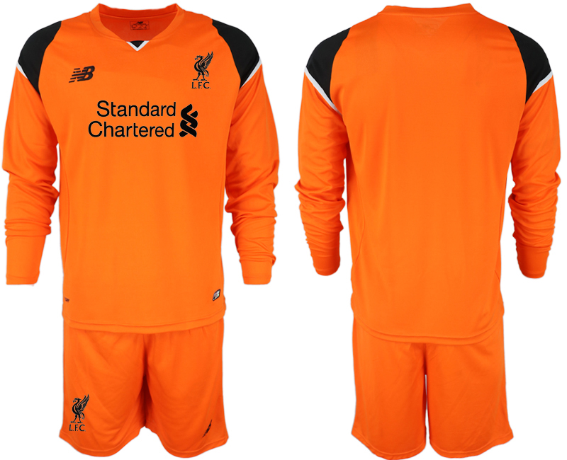 Men 2018-2019 club Liverpool orenge goalkeeper long sleeve soccer jersey